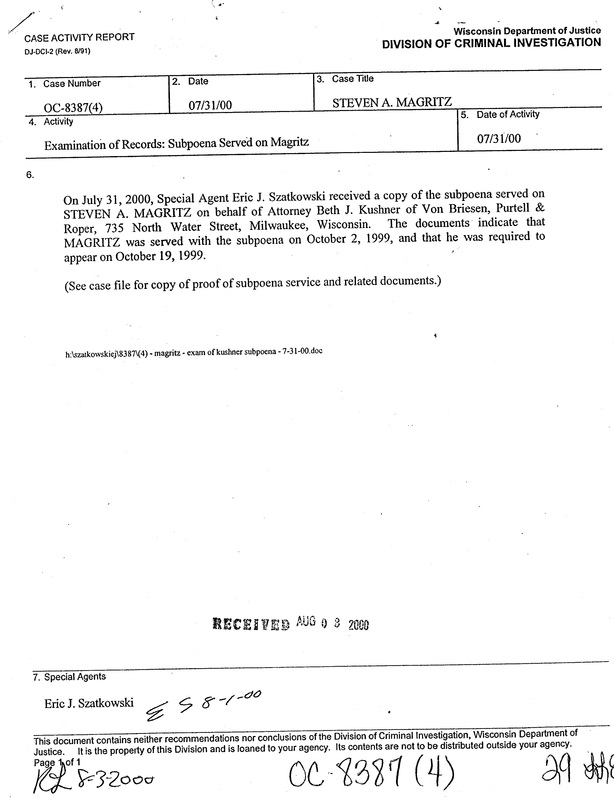 "OzaukeeMOB.org,  This is the second of two documents from the Division of Criminal Investigation of Wisconsin Attorney General Jim Doyle's ""Department of Justice"" that was mistakenly given to Steven Magritz in a ""Discovery"" package.  This is evidence that James Doyle was running the civil lawsuit in the name of his sister Catherine Doyle in order to destroy VCY America, Inc., a Christian broadcast ministry in Milwaukee, Wisconsin.  Steve Magritz exposed and foiled the illegal actions of James E. Doyle against VCY, thus Doyle's attempt to put Magritz in prison for life for an alleged ""offense"" for which others have received only probation. Corrupt Wisconsin politics at its worst."