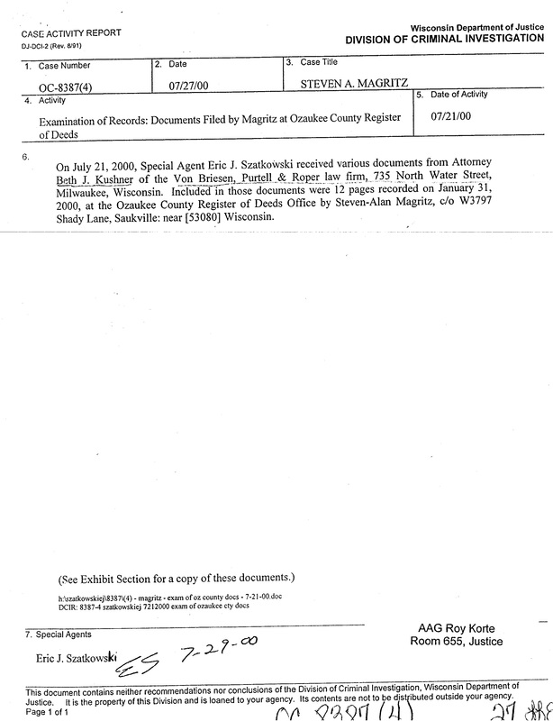 "OzaukeeMOB.org,  This is one of two documents from the Division of Criminal Investigation of Wisconsin Attorney General Jim Doyle's ""Department of Justice"" that was mistakenly given to Steven Magritz in a ""Discovery"" package.  Someone in the office of Assistant Attorney General Roy R. Korte screwed up big time by sending this document to Steve Magritz. This is ""eyes only"" DOJ material. This is evidence that James Doyle was running the civil lawsuit in the name of his sister Catherine Doyle in order to destroy VCY America, Inc., a Christian broadcast ministry in Milwaukee, Wisconsin.  Steve Magritz exposed and foiled the illegal actions of James E. Doyle against VCY, thus Doyle's attempt to put Magritz in prison for life for an alleged ""offense"" for which others have received only probation."