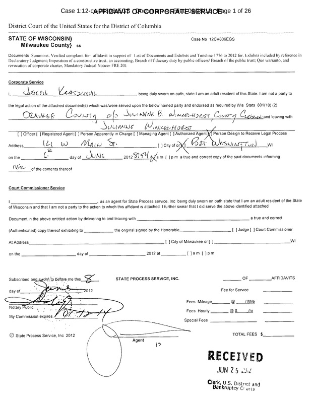 OzaukeeMOB.org,   This is the Affidavit of Service on the public corporation named Ozaukee County. Ozaukee County, Wisconsin is the public corporation that stole, at gunpoint, 62.25 acres of private land for a public park, and refused to pay the owner, Steve Magritz, one thin dime.
