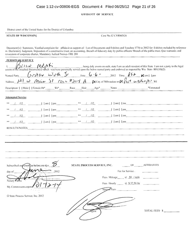 OzaukeeMOB.org,   This is the Affidavit of Service on corrupt Public Officer Gustav W. Wirth, Jr., a member of the Board of Supervisors of Ozaukee County, Wisconsin.