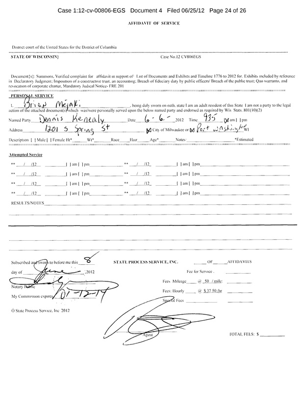 OzaukeeMOB.org,   This is the Affidavit of Service on corrupt attorney Dennis E. Kenealy.  Kenealy was the Corporation Counsel for Ozaukee County, Wisconsin, but resigned after being exposed for his criminal misconduct in office.  Kenealy was sued for Breach of Fiduciary duty by Property Rights Advocate Steve Magritz in a massive lawsuit.