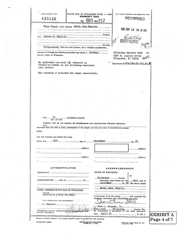 OzaukeeMOB.org,  Deed being corrected - document number 435132 recorded in the Register of Deeds office in Ozaukee County, Wisconsin, 1990